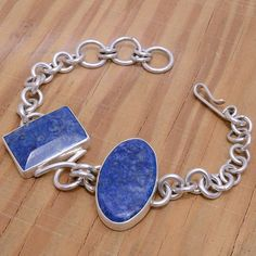 "‼️Clearance‼️-Sterling Silver & Sodalite Bracelet Size 7.5 inches long  Stamped ""925"". Sterling silver bracelet with a brushed finish to give a vintage design a modern twist  Sterling silver is an alloy of silver containing 92.5% by mass of silver and 7.5% by mass of other metals, usually copper. The sterling silver standard has a minimum millesimal fineness of 925.  All my jewelry is solid sterling silver. I do not plate.   Hand crafted in Taxco, Mexico.  Will ship within 2 days of order…"