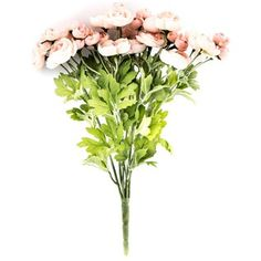 """This PeachRanunculus Bush is perfect for use in floral and greenery arrangements, wreaths and more. The lifelike appearance and low maintenance make this bush a perfect complement to your existing decor!    Bush contains approximately 36 blooms in various sizes.    Dimensions:      Stem Length: 3 1/2""""    Overall Length: 14""""    Bloom Width: 1"""" - 2""""    Overall Width (Varies Upon Shaping): 6"""""""