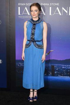 La La Land Premiere, Los Angeles - December 6 2016 Emma Stone in Prada.