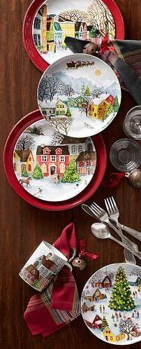 "Pottery Barn ""Winter Village"" plates"