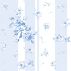 """Swedish Summer"" fabric, wallpaper or wrapping paper by LilyOake, now available through Spoonflower. A lovely spray of blue roses on random, soft blue and white veetical stripes."