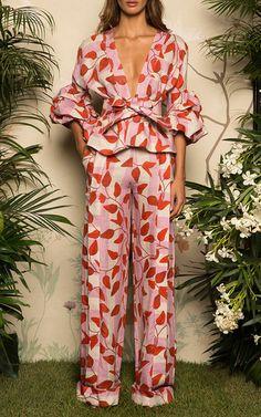Johanna Ortiz Resort 2017 Yoko Belted Puff Sleeve Blouse $995, Colorado Wide Leg Pants $1,150