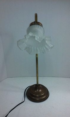 Vintage Tulip Br Gooseneck Lamp W Shaped Frosted Gl Shade 19