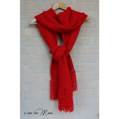 Sciarpa lunga, knitted scarf, sciarpa rossa, sciarpa con frange,... (€20) ❤ liked on Polyvore featuring accessories and scarves