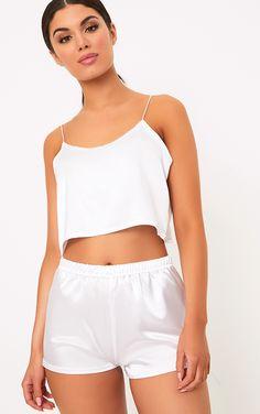 Issie White Satin Pyjama Shorts Set