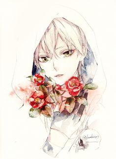 boy, flowers, and manga image Touken Ranbu, Manga Boy, Manga Anime, Anime Art, Handsome Anime Guys, Fan Art, Anime Style, Japanese Art, Watercolor Art