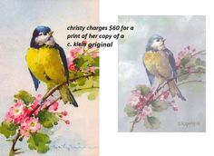 this species of birds is european, painted by caterine klein about 1904. on the right, is christie's in pale hues, including exact apple blossoms. several points on both images were noted and measured. from the proportions on those points, it seems either christie has an exceptional ability to copy or she uses an overhead projector or other device for her paintings.