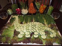 Dinosaur veggie tray Dino Dino party Brontosaurus - this is freaking epic