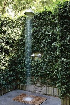 Exterior Shower Landscaping - vine-covered walls  Traditional Landscape/Yard with exterior concrete tile floors, exterior tile floors, Fence