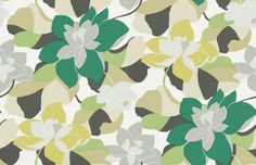 Diva Leaf  (110861) - Scion Wallpapers - A large scale trailing floral design featuring stylised magnolia blossoms. Shown here in leaf and moss. Other colourways are available. Please request a sample for a true colour match. Paste-the-wall product.