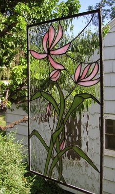 """Stained Glass Window Panel--Pink Cosmos Blooming--15"""" x 26"""""""