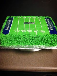 incrediBundts & More: Seahawk football field cake. Red velvet cake Seahawks football field cake ... For Zach's b-day! :)