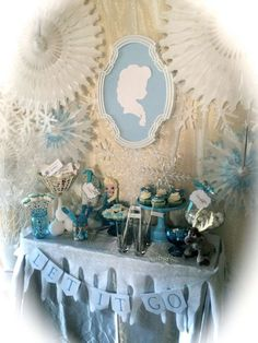 Amazing decorations at a Frozen birthday party! See more party planning ideas at CatchMyParty.com!