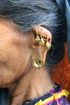 India | Earring detail of a Rabari woman in Gujarat. | © RURO photography