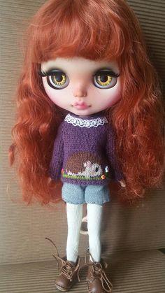 Hedgehog sweater for Blythe, Licca, Pure Neemo, bjd doll. Forest Animal jumper