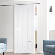 Thruslide Surface Coventry Style White Primed Panel Sliding Door and Track Kit - Lifestyle Image. #slidingdoor #paneldoor