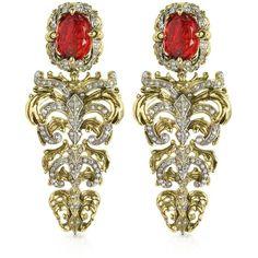 Roberto Cavalli Designer Earrings Renaissance Light Gold Tone Metal... ($1,175) ❤ liked on Polyvore featuring jewelry, earrings, accessories, brinco, jewels, clip chandelier earrings, ruby earrings, red costume jewelry, clip on chandelier earrings and fleur de lis earrings