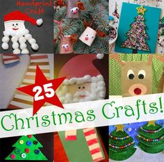 25 Easy Christmas Crafts for Kids - Love some of the Santa idea in here!