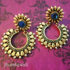 FLORAL chand BALI style earrings - Blue - Online Shopping for Earrings by Jhumkewali