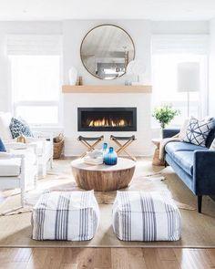 Coastal Living Rooms, Boho Living Room, Living Room Sets, Home And Living, Cottage Living, Coastal Cottage, Simple Living, Living Room Furniture Sets, Living Room White Walls