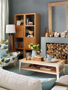 fireplaces with bench grey warm grey and living rooms - Retro Living Room Ideas