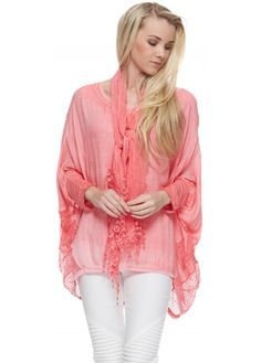 Made In Italy Coral Burn Out Side Detail Top With Scarf