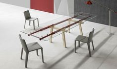 Brussels-based designer Alain Gilles' extendable table for Italian furniture brand Bonaldo turns its functional mechanism into an aesthetic feature. Cheap Patio Furniture, Bar Furniture, Furniture Buyers, Studio Furniture, Furniture Outlet, Discount Furniture, Office Furniture, Multipurpose Furniture, Steel Beams