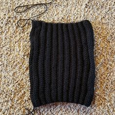 This Black Beanie Crochet Pattern has a classic design, but is made a little differently than your typical crocheted hat. It's worked as a rectangle and then sewn into a hat. Ribbed Crochet, Crochet Beanie Pattern, Crochet Blanket Patterns, Crochet Yarn, Hand Crochet, Crochet Potholders, Crocheted Hats, Hat Patterns, Chrochet