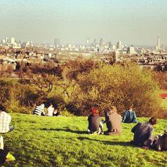 Parliament Hill - View all over London. Super Aussichtspunkt in den Heaths, bestens auch für Bonfire Nights (Fireworks)