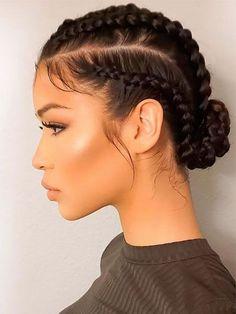 Pretty Braided Hairstyles, Braided Hairstyles For Black Women, Box Braids Hairstyles, Girl Hairstyles, Asian Hairstyles, Teenage Hairstyles, Mixed Hairstyles, Curly Hair Braids, Goddess Hairstyles