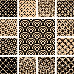 Simple Geometric Patterns | Seamless geometric patterns. Designs set with circle-shaped elements ...