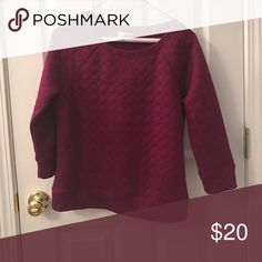 Quilted Crewneck Tee Halogen Quilted Burgundy Three Quarter Length Sleeves.  Crewneck.  A dressy Sweatshirt.  Super cute with a long tassel necklace. Halogen Tops Sweatshirts & Hoodies