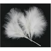 White Fluffy Craft Feathers x6