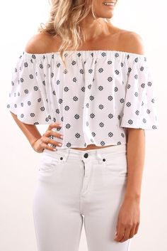 The Seeker Top Light Floral Deco Print