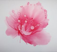 Pink flower in alcohol ink