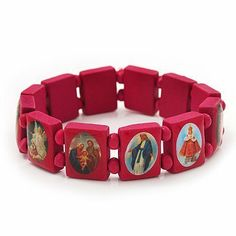 """Stretch Deep Pink Wooden Saints Bracelet / Jesus Bracelet / All Saints Bracelet - Up to 20cm Length Avalaya. $3.78. Type: stretchy. Occasion: casual wear, club night out. Wear On: wrist. Length: 20.0cm (7.87""""). Material: wood. Save 47% Off!"""