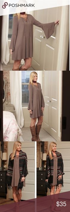 Taupe boho bell Lace up dress NWOT STRETCHY silky dress which isn't staticky or clingy that can be dressed up or down. Wonderful for the winter months into spring...fits tts Not that mini. Brand new never worn. They did not come with tags attached, Infinity Raine Dresses Mini