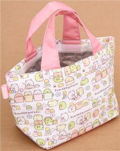 white-pink Sumikkogurashi shy animals lunch bag