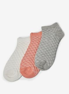 6a352d8bdc24 Womens Multi Coloured 3 Pack Waffle Trainer Socks- Multi Colour