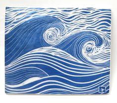 ceramic art tile ocean waves
