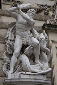 Hercule et l'Hydre de lerne. Ancient Greek Sculpture, Greek Statues, Ancient Art, Greek Mythology Tattoos, Greek And Roman Mythology, Roman Sculpture, Art Sculpture, Roman Art, Greek Art