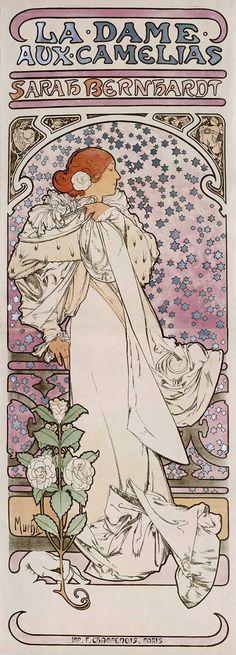La Dame Aux Camelias Sarah Bernhardt - 16x6 image on 20x10 Giclée