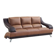 Upholstered in two-tone bonded leather, this sofa caters to both design and comfort.  Featuring bold curves, plush seating and chrome legs, this chair suits modern and transitional decor.