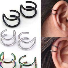 Shoptagr | 2 Pcs/Set Men Women Ear Clip Cuff Wrap Earrings Fashion 4 Colors Clip On Earrings Non Piercing Ear Cuff Eardrop by Ali Bags And Shoes #fashion #trend #style #onlineshop #shoptagr