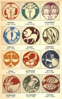Horoscope Cross Stitch Patterns 12 Zodiac Signs by Multipatterns