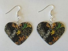 Mossy Oak Camo Camouflage Heart shaped earrings country girl love jewelry. $6.00, via Etsy.