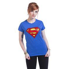 """Maglietta donna """"Logo"""" di #Superman azzurra con logo del supereroe stampato in giallo e rosso sul davanti."""
