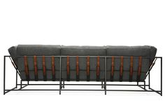 Faribault Grey Wool and Blackened Steel Sofa | From a unique collection of antique and modern sofas at https://www.1stdibs.com/furniture/seating/sofas/