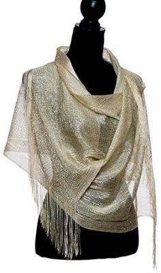 $14.20 | Sheer Glitter Sparkle Shawl Wrap Fringe Prom Weddings Evening Scarfs for Women | #shop #women #fashion #styles #accessories