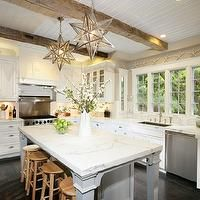 wood beams in kitchen.